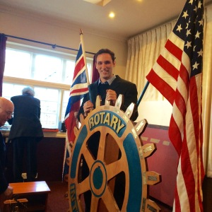 Me on the Rotary Wheel with the American Flag and Union Jack on either side.