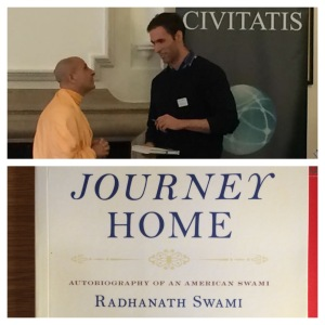 A Picture of Rabhanath Swami and IThe cover of his autobiography Journey Home