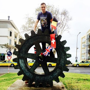 The statue of the Rotary Wheel right out side our hotel which was donated by the Rotary Club of Funchal